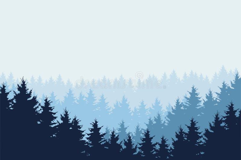 Μπλε διανυσματική απεικόνιση του δάσους το χειμώνα κάτω από το μπλε ουρανό ελεύθερη απεικόνιση δικαιώματος