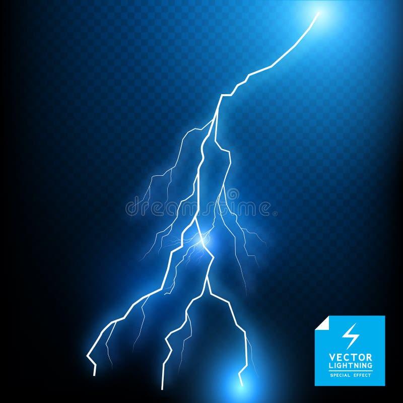 Μπλε διανυσματικό μπουλόνι αστραπής απεικόνιση αποθεμάτων