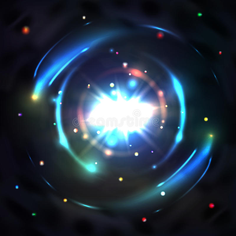 Μπλε διανυσματικό υπόβαθρο δίνης περιστροφών κύκλων πυράκτωσης ελαφρύ απεικόνιση αποθεμάτων