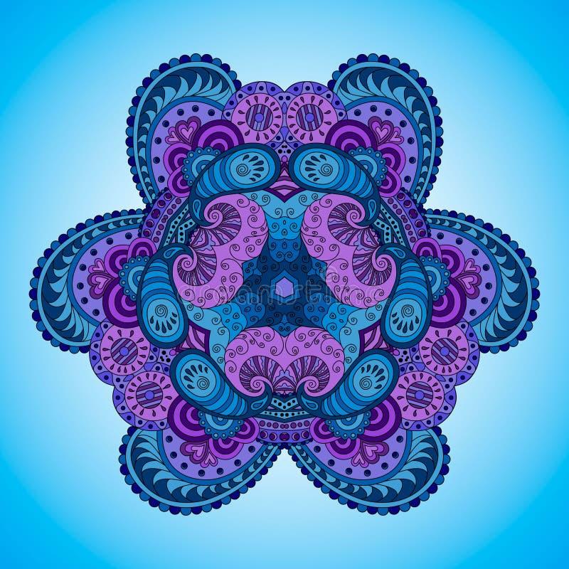 Μπλε-ιώδες mandala απεικόνιση αποθεμάτων