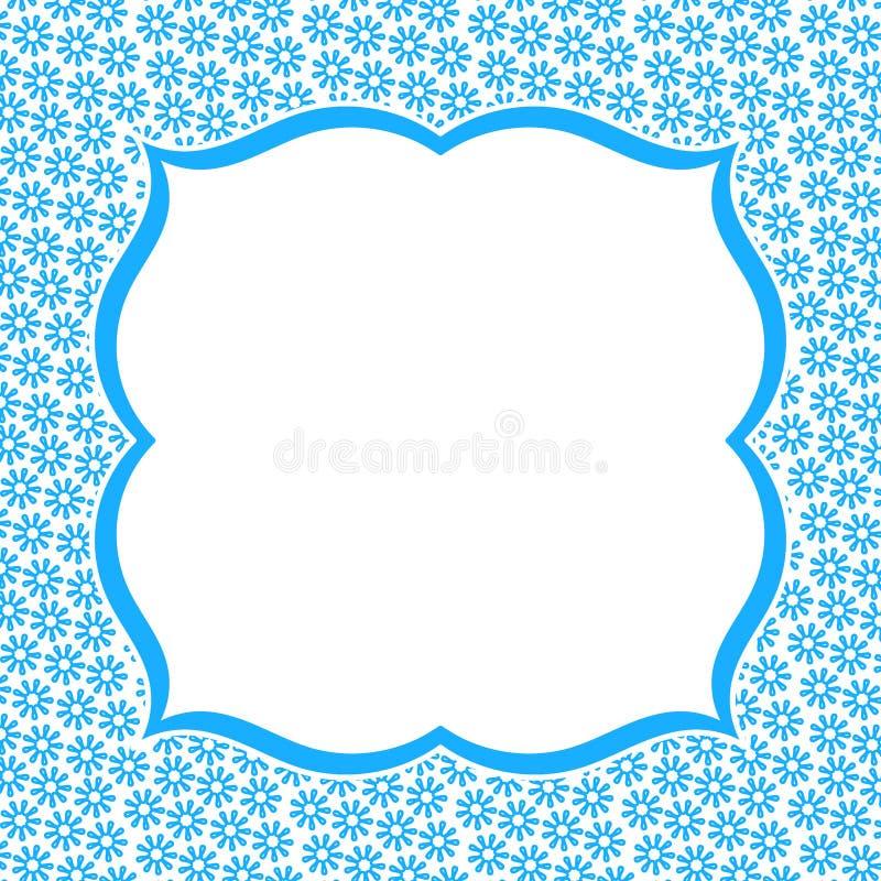 Μπλε κάρτα πρόσκλησης λουλουδιών συνόρων πλαισίων διανυσματική απεικόνιση