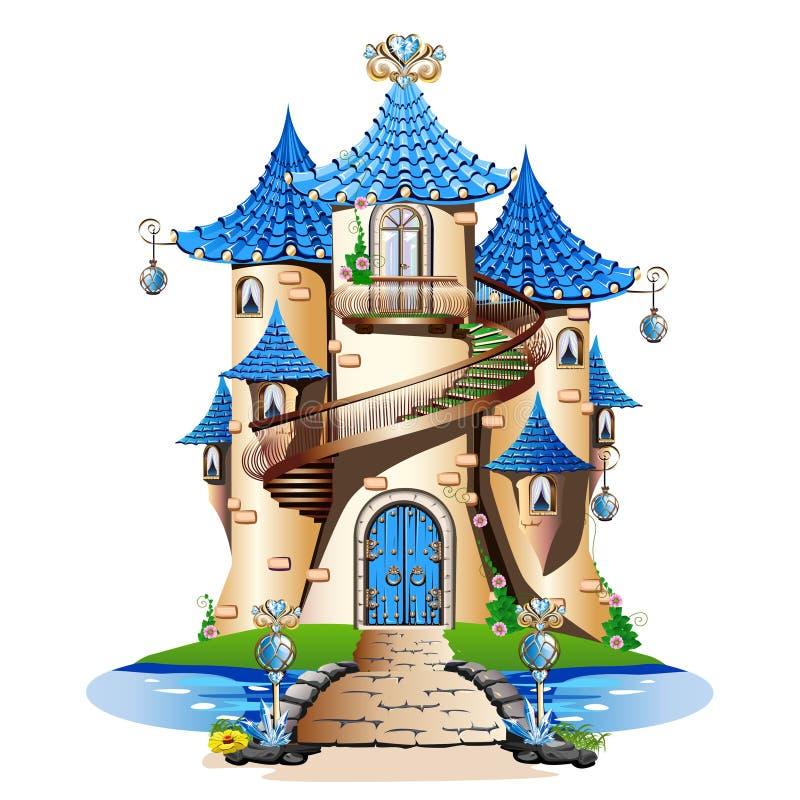 Μπλε κάστρο παραμυθιού ελεύθερη απεικόνιση δικαιώματος