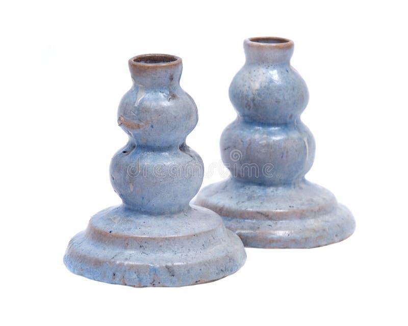Μπλε κάτοχος κεριών αργίλου κεραμικός στοκ εικόνα