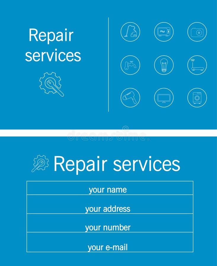 Μπλε και άσπρη επισκευή επαγγελματικών καρτών διανυσματική απεικόνιση