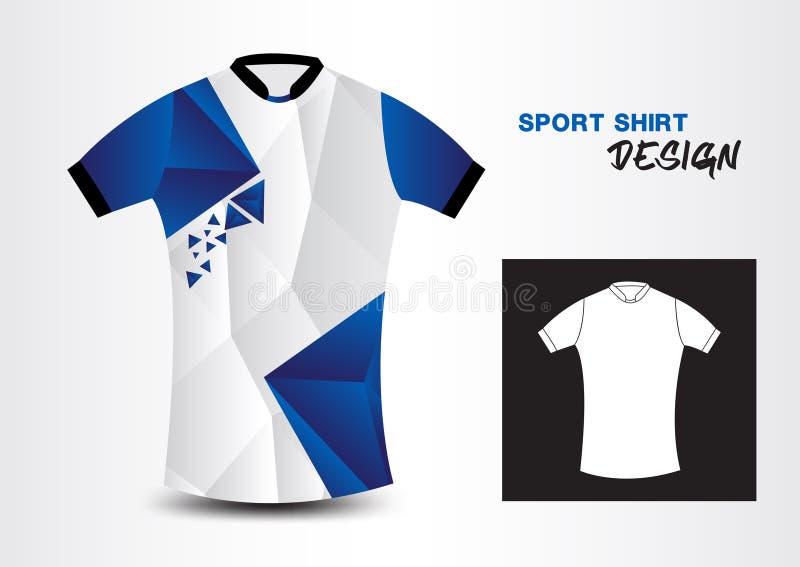 Μπλε και άσπρη διανυσματική απεικόνιση πολυγώνων σχεδίου αθλητικών πουκάμισων απεικόνιση αποθεμάτων
