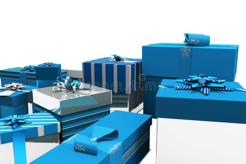 Μπλε και ασημένια δώρα Χριστουγέννων διανυσματική απεικόνιση