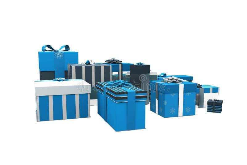 Μπλε και ασημένια δώρα Χριστουγέννων ελεύθερη απεικόνιση δικαιώματος