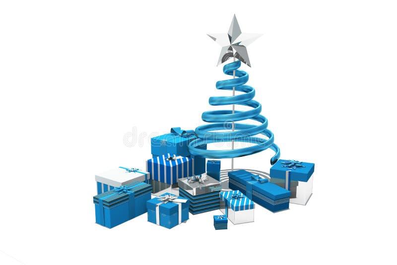 Μπλε και ασημένια δώρα Χριστουγέννων απεικόνιση αποθεμάτων