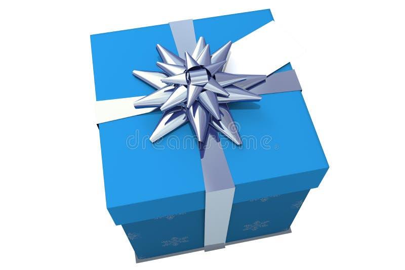 Μπλε και ασημένιο δώρο Χριστουγέννων ελεύθερη απεικόνιση δικαιώματος