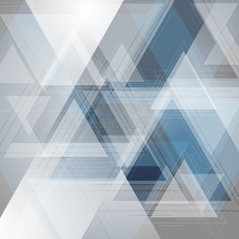 Μπλε και γκρίζο υπόβαθρο τριγώνων τεχνολογίας ελεύθερη απεικόνιση δικαιώματος