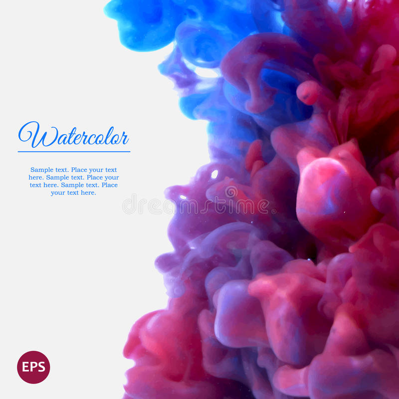 Μπλε και ιώδες στροβιλιμένος μελάνι στο νερό απεικόνιση αποθεμάτων
