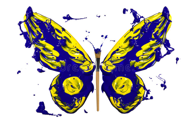 Μπλε και κίτρινο χρώμα παφλασμών που γίνεται την πεταλούδα ελεύθερη απεικόνιση δικαιώματος