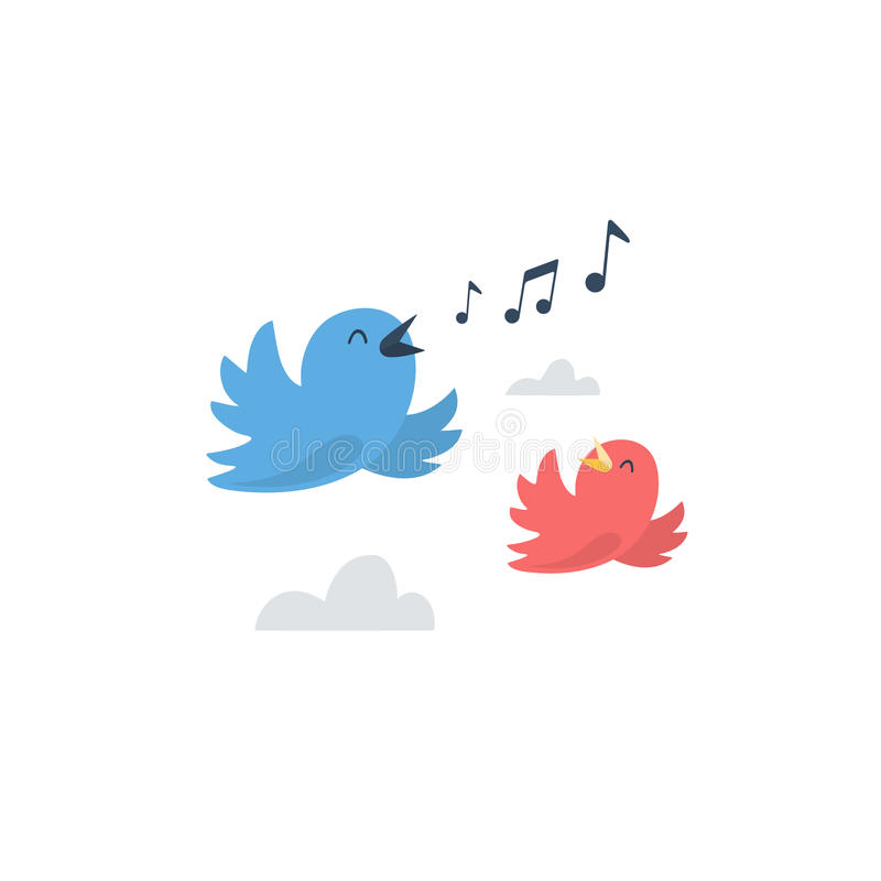 Μπλε και κόκκινα μικρά πουλιά που πετούν στον ουρανό απεικόνιση αποθεμάτων