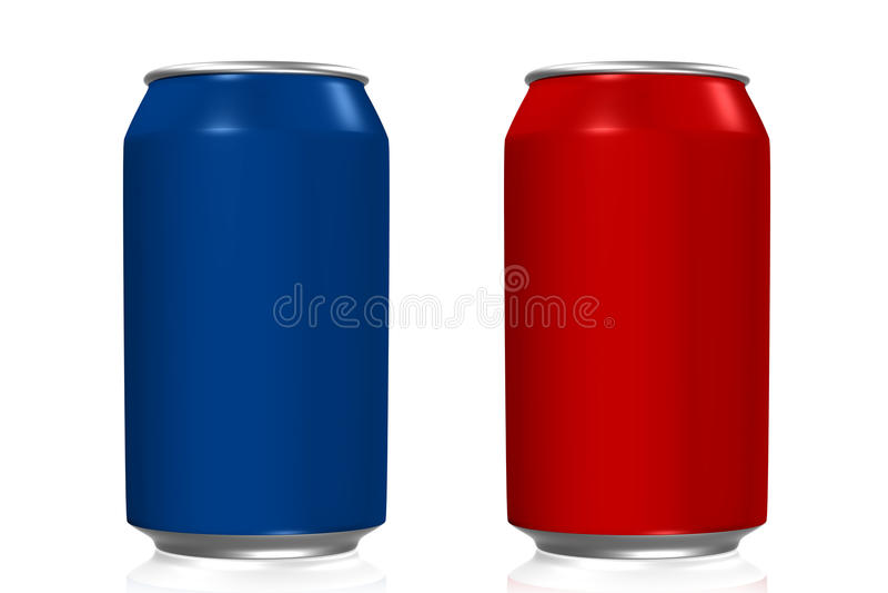 Μπλε και κόκκινα δοχεία σόδας διανυσματική απεικόνιση