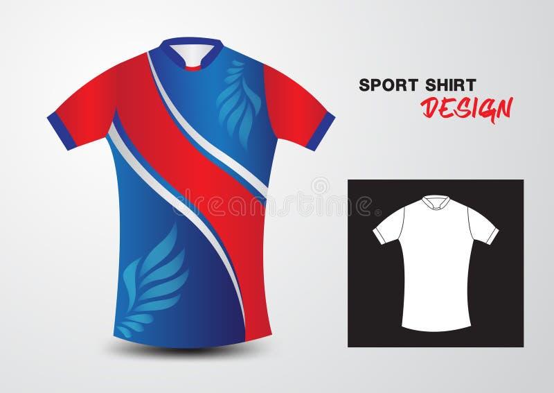 Μπλε και κόκκινη διανυσματική απεικόνιση σχεδίου αθλητικών πουκάμισων απεικόνιση αποθεμάτων