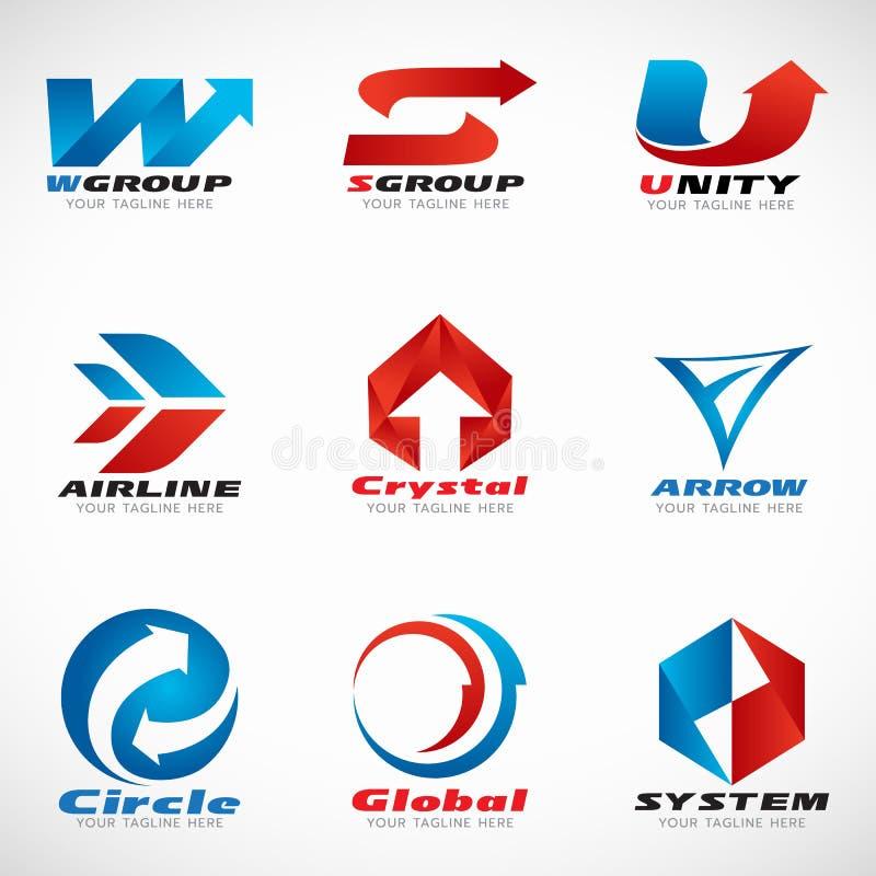 Μπλε και κόκκινο διανυσματικό καθορισμένο σχέδιο λογότυπων βελών απεικόνιση αποθεμάτων