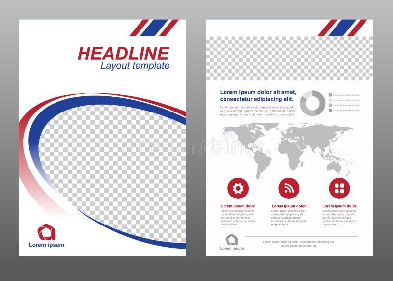 Μπλε και κόκκινο σύγχρονο σχέδιο διανύσματος καμπυλών κύκλων σελίδων κάλυψης μεγέθους προτύπων ιπτάμενων σχεδιαγράμματος A4 ελεύθερη απεικόνιση δικαιώματος