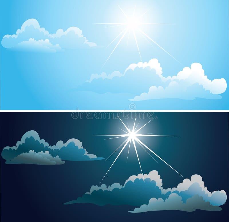 Μπλε και νυχτερινός ουρανός με τα άσπρα σύννεφα διανυσματική απεικόνιση