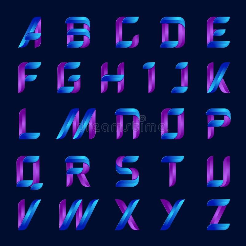 Μπλε και πορφυρές επιστολές αλφάβητου χρώματος αγγλικές καθορισμένες διανυσματική απεικόνιση
