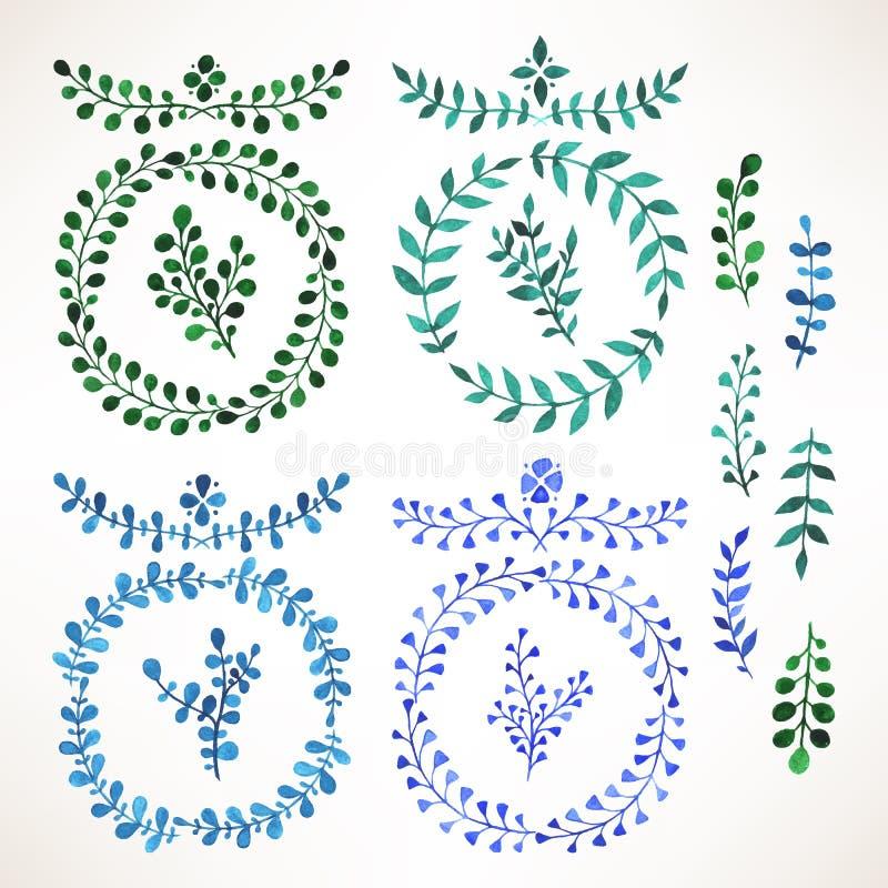 Μπλε και πράσινα φύλλα watercolor - 2 απεικόνιση αποθεμάτων
