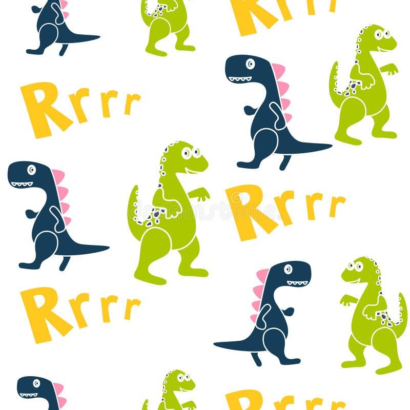 Μπλε και πράσινο άνευ ραφής διανυσματικό σχέδιο παιδιών δεινοσαύρων για την υφαντική τυπωμένη ύλη διανυσματική απεικόνιση
