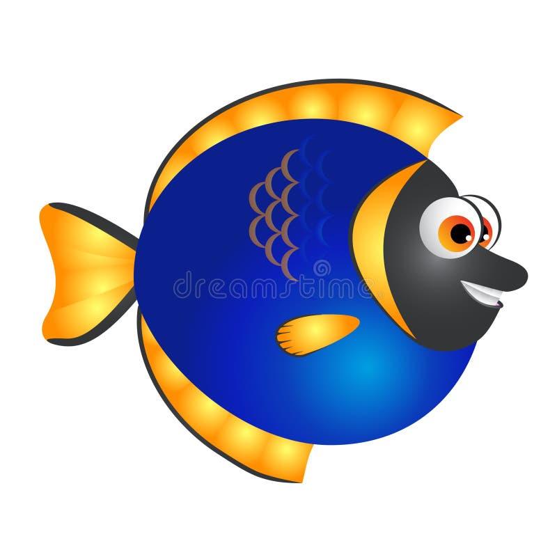 Μπλε και χρυσά κινούμενα σχέδια ψαριών διανυσματική απεικόνιση