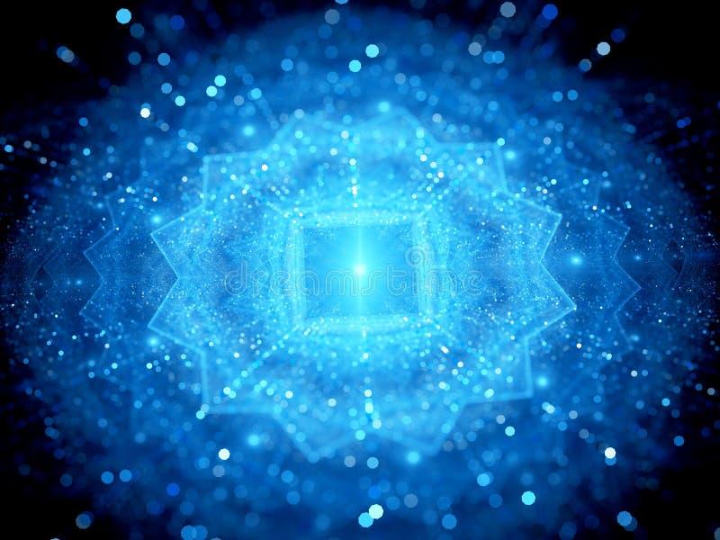 Μπλε καμμένος μεγάλα στοιχεία στο διάστημα με τα μόρια διανυσματική απεικόνιση