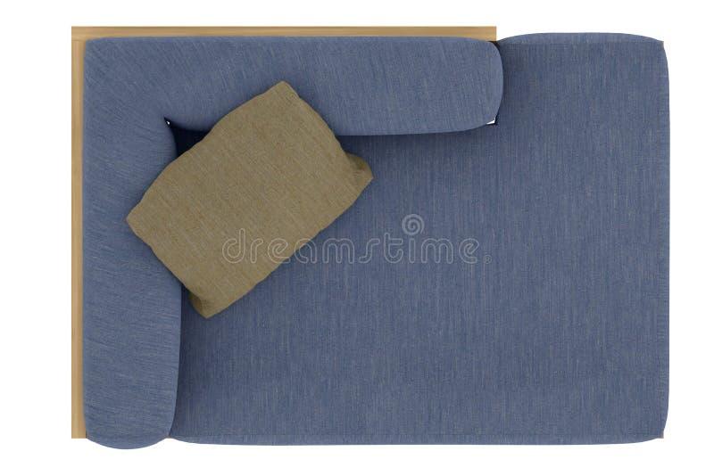 Μπλε καναπές με το μαξιλάρι στοκ εικόνες