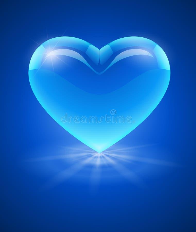 Μπλε καρδιά γυαλιού απεικόνιση αποθεμάτων