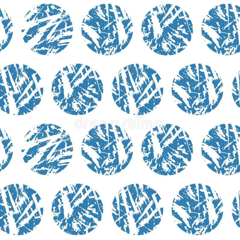 Μπλε κατασκευασμένο διανυσματικό άνευ ραφής σχέδιο κύκλων Handdrawn χειμερινές χιονιές grunge στο άσπρο υπόβαθρο διανυσματική απεικόνιση