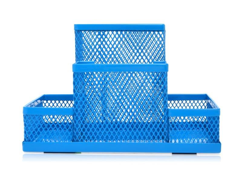 Μπλε κενός κάτοχος μολυβιών που απομονώνεται στο λευκό στοκ εικόνες με δικαίωμα ελεύθερης χρήσης