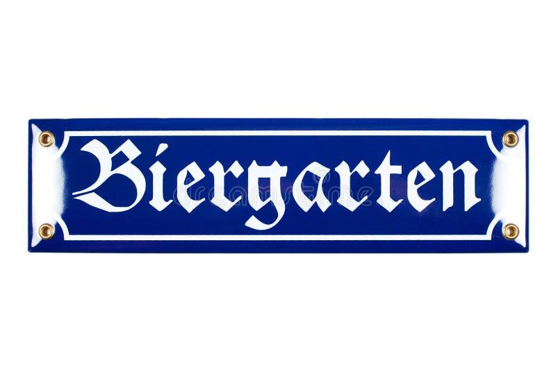Μπλε κεραμικό σημάδι Biergarten στοκ φωτογραφία