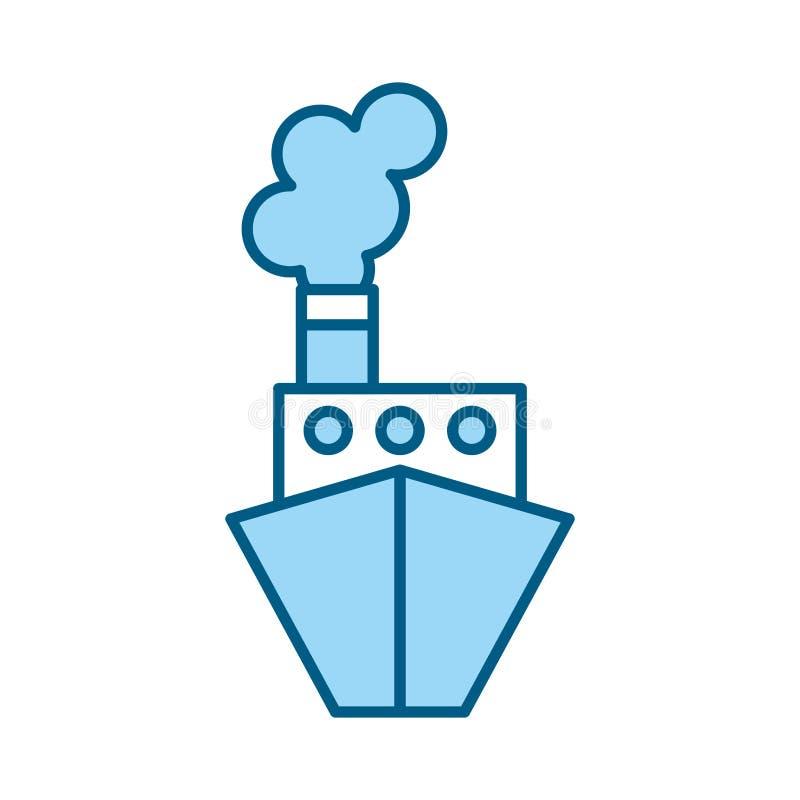 Μπλε κινούμενα σχέδια σκαφών ελεύθερη απεικόνιση δικαιώματος
