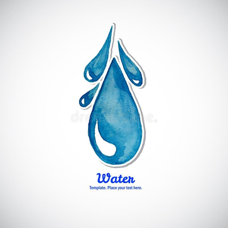 Μπλε κινούμενη πτώση νερού Watercolor ΛΟΓΟΤΥΠΟ ελεύθερη απεικόνιση δικαιώματος