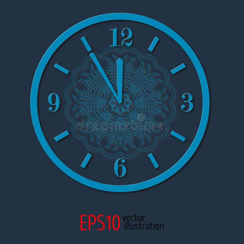 Μπλε κομψό ρολόι vitage για το νέο σχέδιο έτους και Χριστουγέννων διανυσματική απεικόνιση με το δαντελλωτός σχέδιο απεικόνιση αποθεμάτων