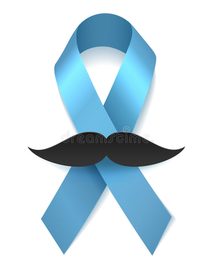 Μπλε κορδέλλα υγείας ατόμων με το moustache ελεύθερη απεικόνιση δικαιώματος
