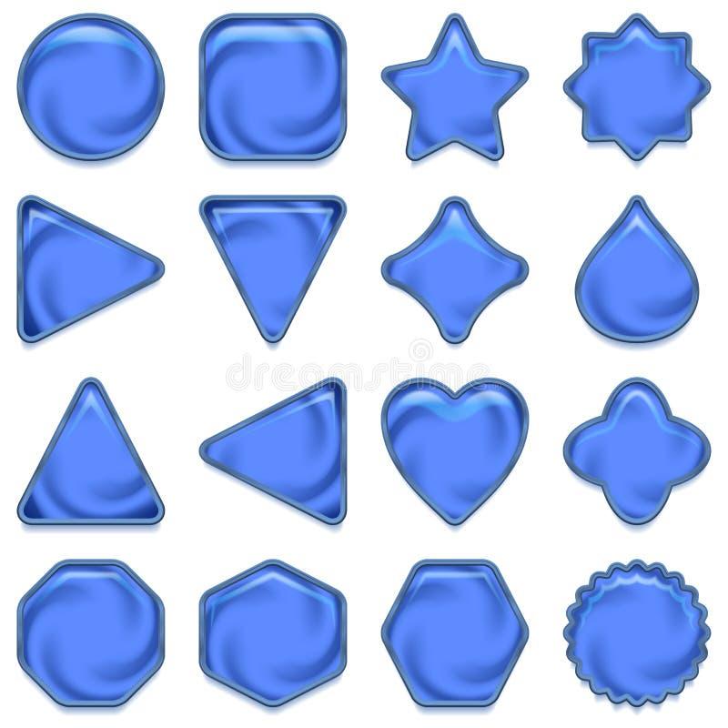 Μπλε κουμπιά γυαλιού καθορισμένα ελεύθερη απεικόνιση δικαιώματος