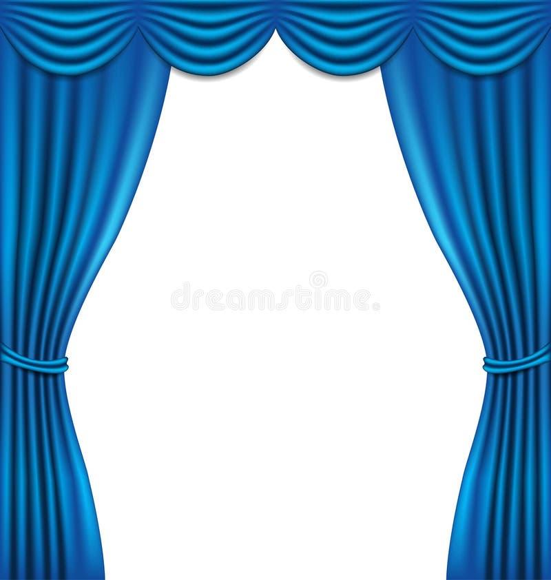 Μπλε κουρτίνα πολυτέλειας στο άσπρο υπόβαθρο απεικόνιση αποθεμάτων