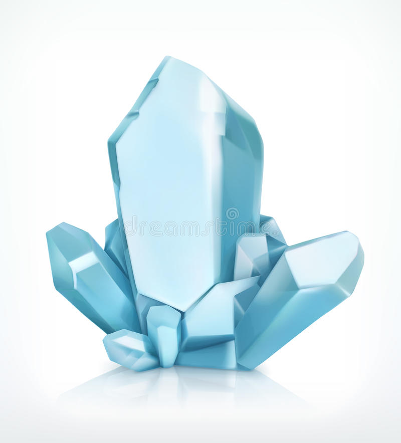 Μπλε κρύσταλλο, διανυσματικό εικονίδιο ελεύθερη απεικόνιση δικαιώματος