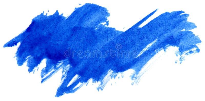 Μπλε κτύπημα χρωμάτων watercolor αφηρημένο στοκ εικόνα