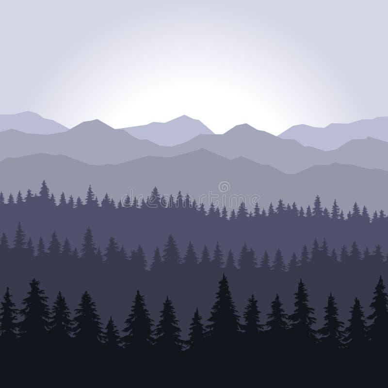 Μπλε κωνοφόρα δάσος ομίχλης και υπόβαθρο βουνών διάνυσμα διανυσματική απεικόνιση