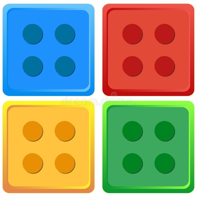 Μπλε, κόκκινο, κίτρινο, πράσινο χρωματισμένο Lego παιχνιδιών σύνολο τεσσάρων χρώματος απεικόνισης διανυσματικό απεικόνιση αποθεμάτων