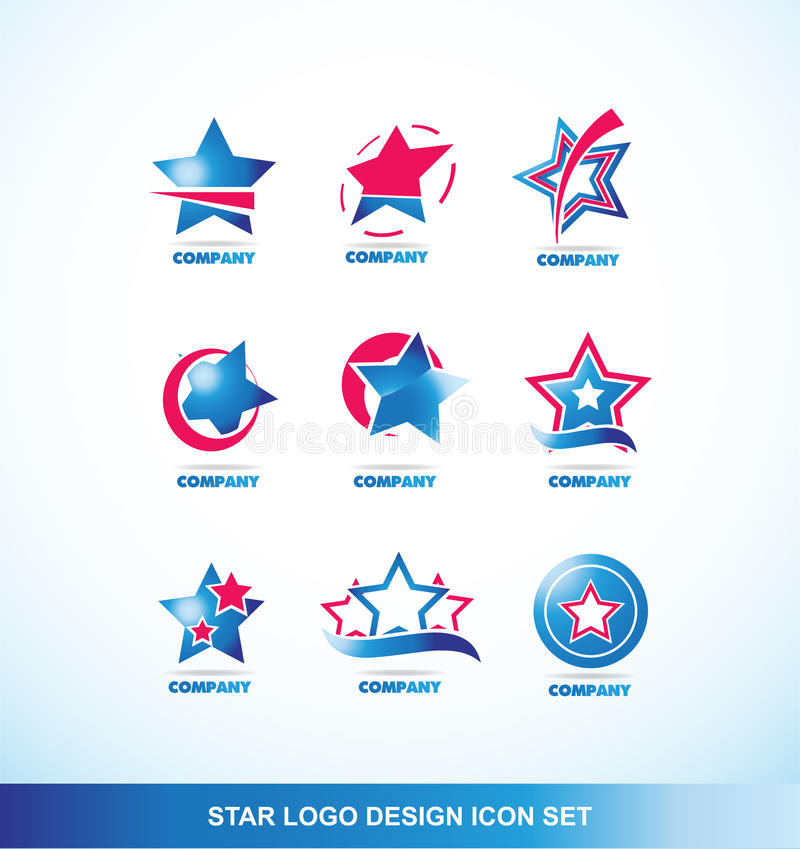 Μπλε κόκκινο σύνολο εικονιδίων λογότυπων αστεριών απεικόνιση αποθεμάτων