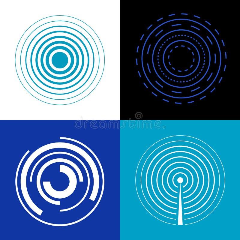 Μπλε κύματα σημάτων κύκλων Παράγετε τα διανυσματικά ραδιο σήματα ήχου ή ραντάρ ελεύθερη απεικόνιση δικαιώματος