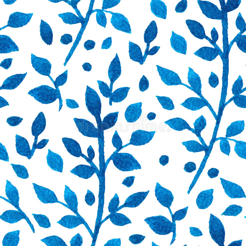 Μπλε κλάδοι watercolor διανυσματική απεικόνιση