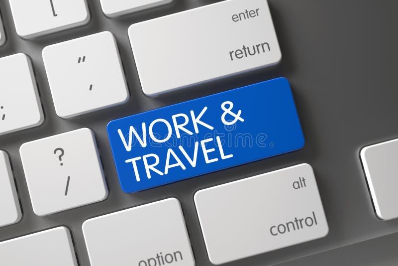 Μπλε κλειδί εργασίας και ταξιδιού στο πληκτρολόγιο τρισδιάστατος απεικόνιση αποθεμάτων