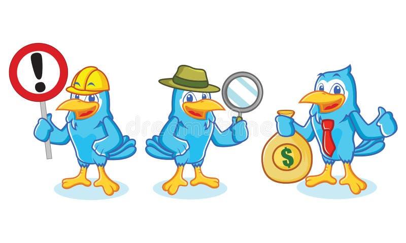 Μπλε μασκότ του Jay με το σημάδι ελεύθερη απεικόνιση δικαιώματος