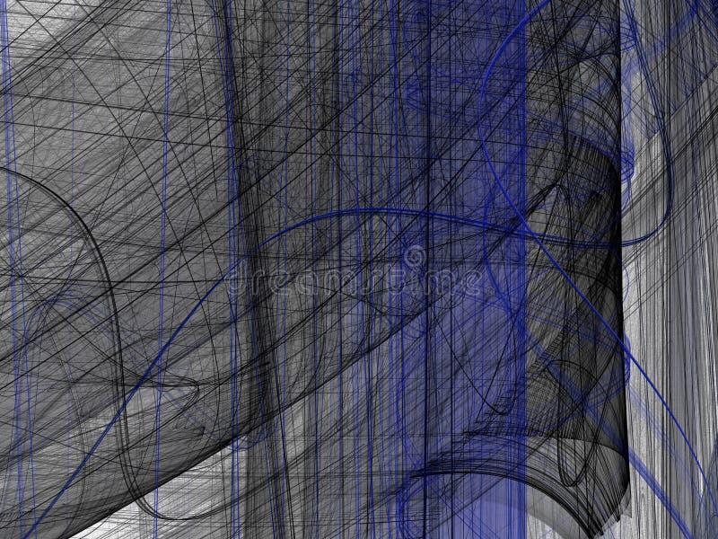 Μπλε μαύρο αφηρημένο fractal με τις κυρτές γραμμές απεικόνιση αποθεμάτων