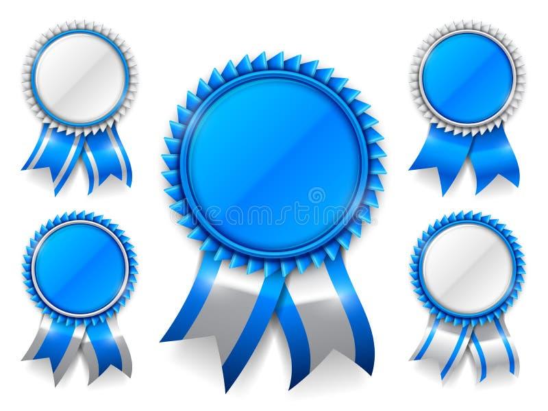 Μπλε μετάλλια βραβείων διανυσματική απεικόνιση