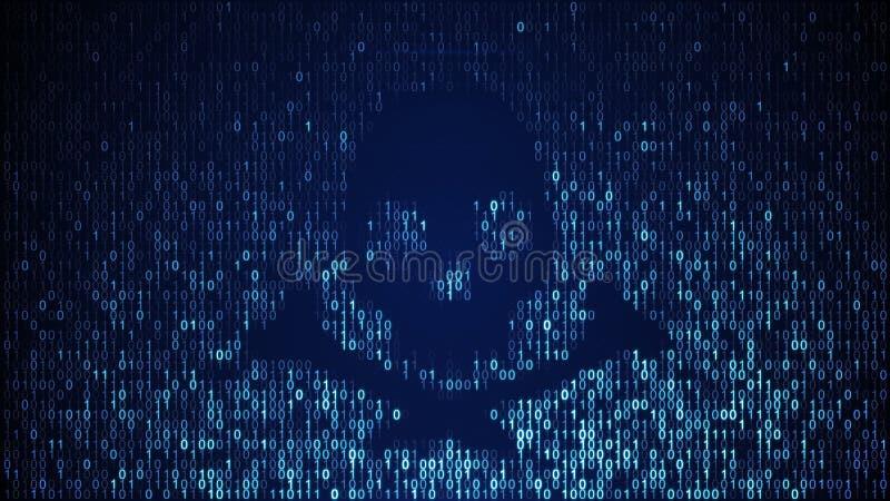 Μπλε μορφή κρανίων του δυαδικού κώδικα στην οθόνη απεικόνιση αποθεμάτων
